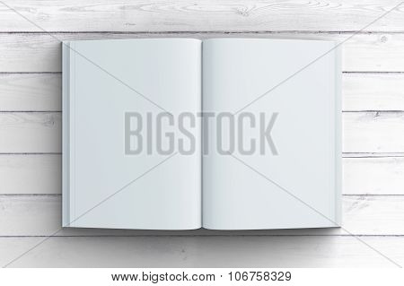 Blank White Diary Paper On Wooden Floor, Mock Up