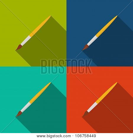 Brush Icons Set In The Style Flat Design On A Background Different Color. Stock Vector Illustration