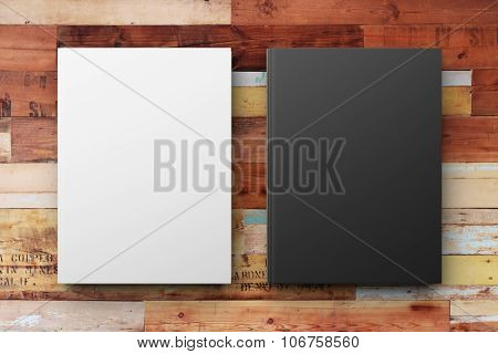 Blank White And Black Diary On The Wooden Table, Mock Up