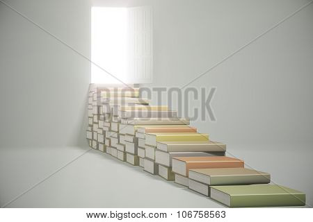 Book Stairway And Bright Light From The Open Door