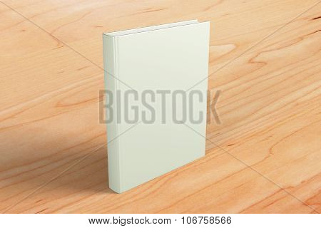 Blank White Book Cover On Brown Wooden Floor, Mock Up