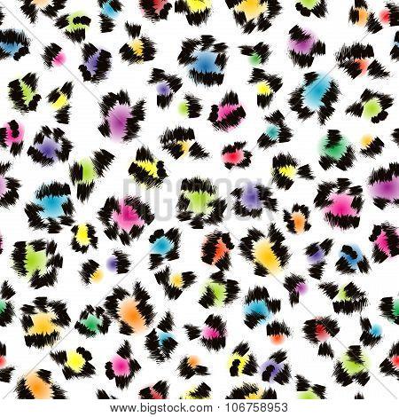 Colorful Leopard Fur Background