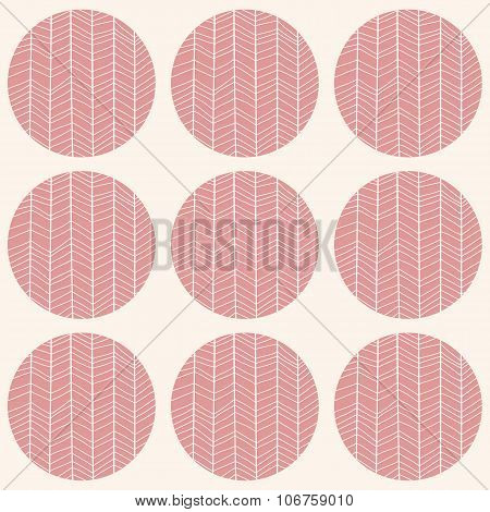 Seamless Pattern With Circles And Hand Drawn Chevron Pattern