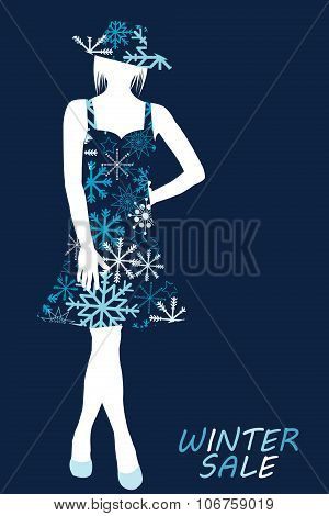 Winter Sale Illustration With Woman Silhouette In Snowflakes Dress