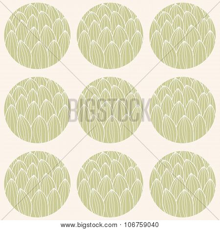 Seamless Pattern With Circles And Hand Drawn Cactus Pattern