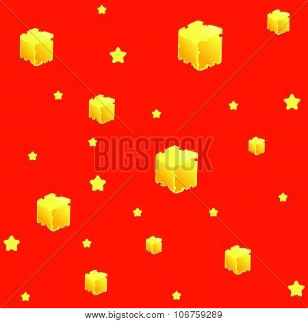Bright seamless pattern with stars and delicious slices of cheese in a cartoon or doodle style. Satu
