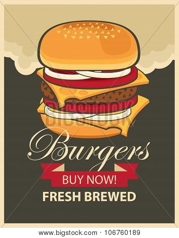 Banner With Cheeseburger