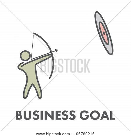 Line Icon Business Goal. Vector Business Symbol