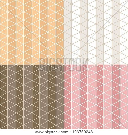 Four Seamless Patterns With Hand Drawn Line Grid Pattern