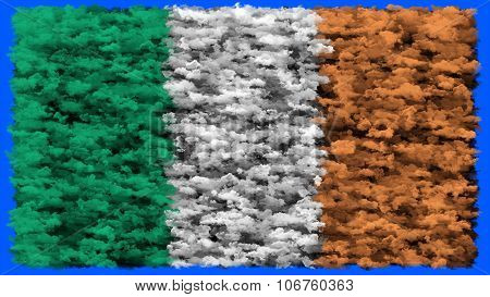 Flag of Ireland, Irish Flag painted made from clouds