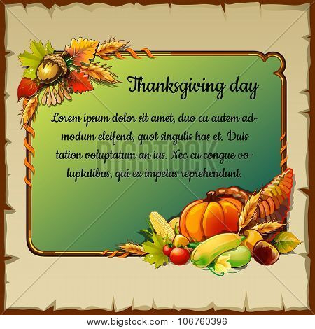 Card for thanksgiving day with vegetables