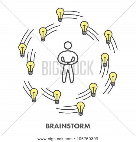 Line Icon Brainstorm. Vector Business Symbol