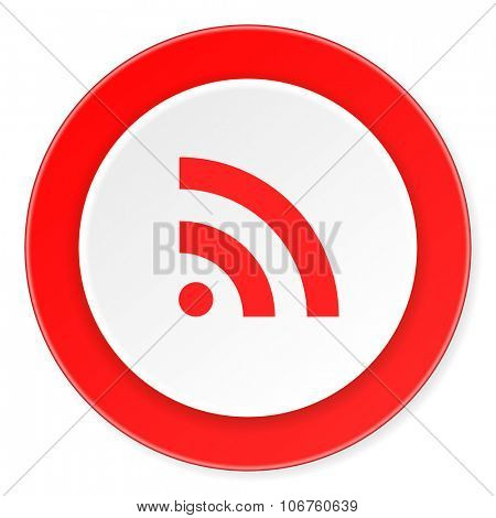 rss red circle 3d modern design flat icon on white background