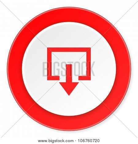 exit red circle 3d modern design flat icon on white background