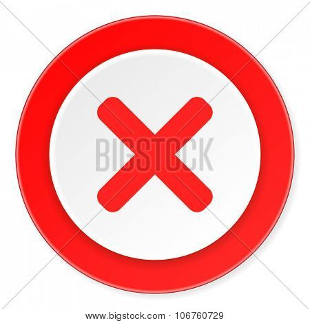 cancel red circle 3d modern design flat icon on white background