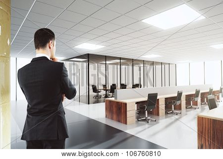 Businessman In Shiny Open Space Office