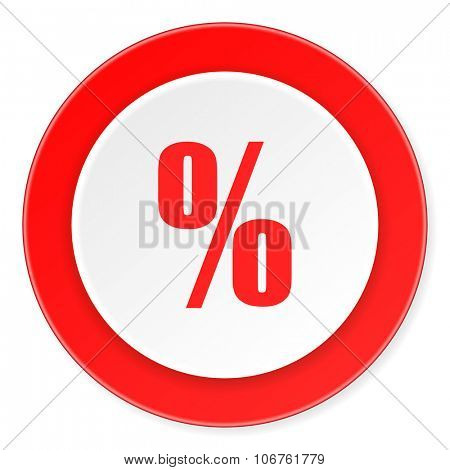 percent red circle 3d modern design flat icon on white background