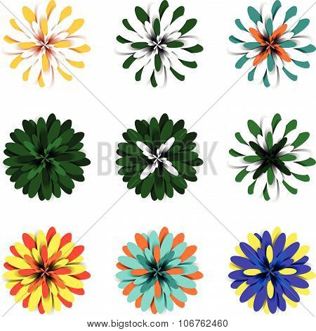 Bright fluffy volumetric floral elements with multicolored petals, pompons suited for flower and flo