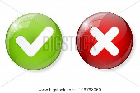 Red and Green Check Mark Icon Button Vector Illustration