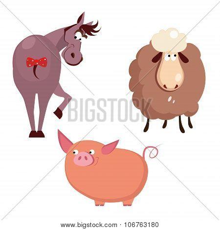 Donkey, Pig and Sheep. Farm Animals Vector