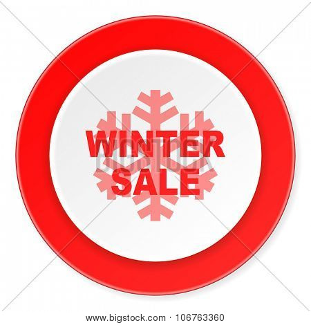 winter sale red circle 3d modern design flat icon on white background