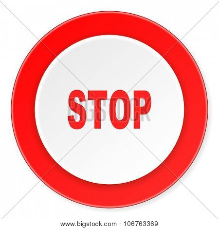 stop red circle 3d modern design flat icon on white background