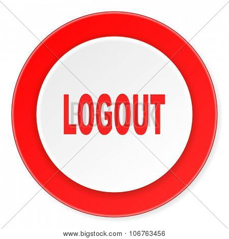 logout red circle 3d modern design flat icon on white background