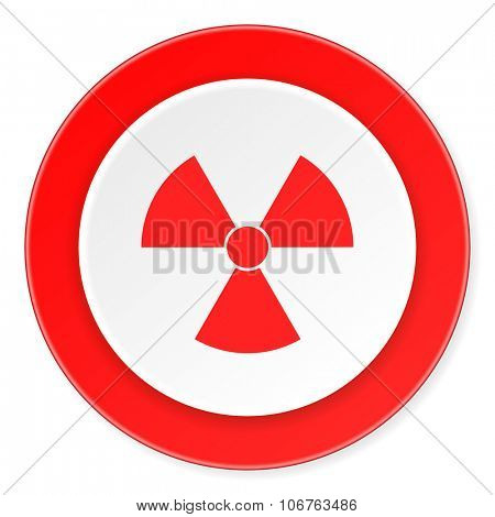 radiation red circle 3d modern design flat icon on white background