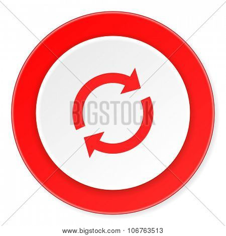 reload red circle 3d modern design flat icon on white background
