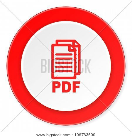 pdf red circle 3d modern design flat icon on white background ,