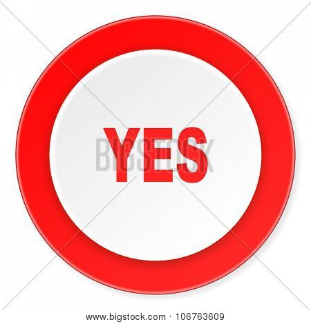 yes red circle 3d modern design flat icon on white background