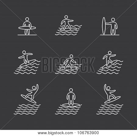 Linear Surfing Icons Set