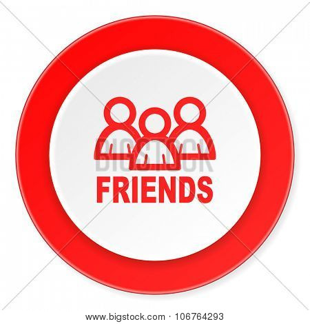 friends red circle 3d modern design flat icon on white background
