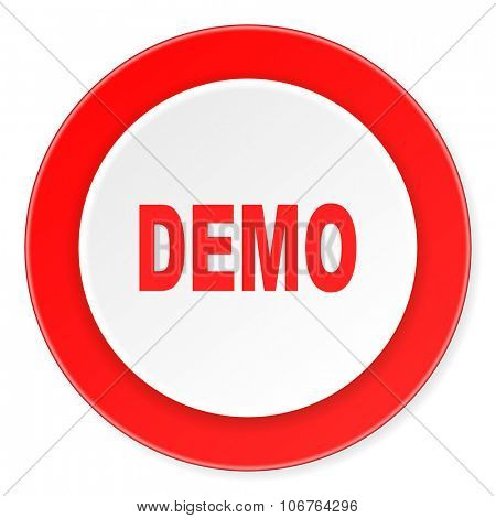 demo red circle 3d modern design flat icon on white background