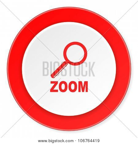 zoom red circle 3d modern design flat icon on white background