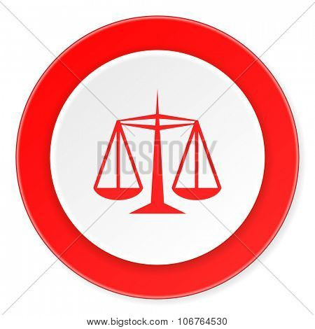 justice red circle 3d modern design flat icon on white background