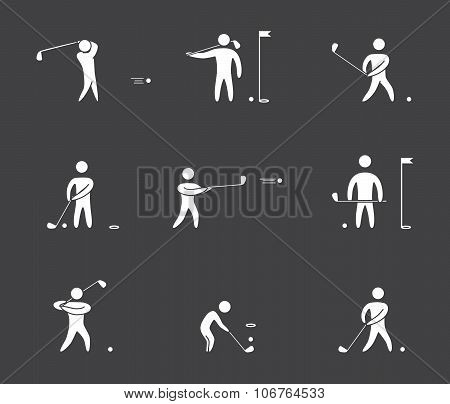 Silhouettes Of Figures Golfer Icons Set