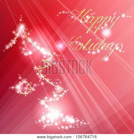Sparkling red background with a stylized Christmas tree