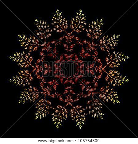 Ornamental watercolor hand drawn round floral pattern with grunge weaving texture in bright color re