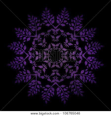 Ornamental watercolor hand drawn round floral pattern with grunge weaving texture in bright pink and