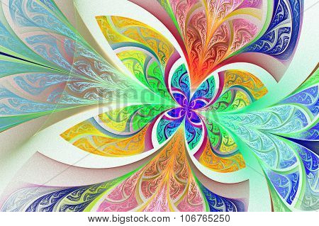 Multicolored Fractal Flower Or Butterfly Background In Stained-glass Window Style. Artwork For Creat