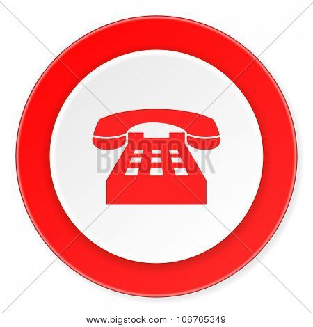 phone red circle 3d modern design flat icon on white background