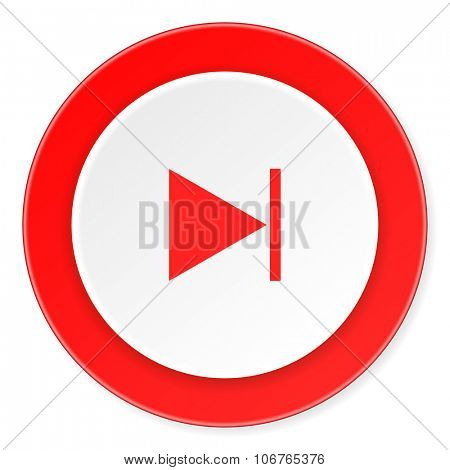 next red circle 3d modern design flat icon on white background