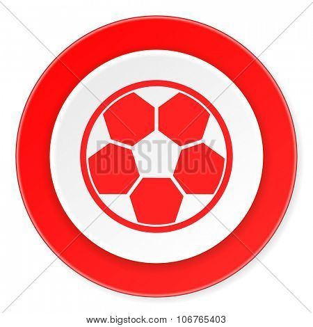 soccer red circle 3d modern design flat icon on white background