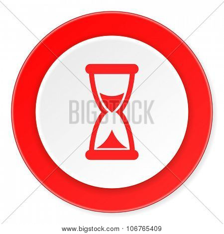 time red circle 3d modern design flat icon on white background