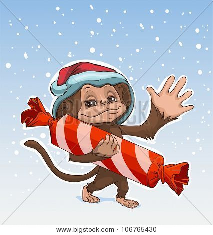 Monkey symbol 2016. Monkey has great candy. Monkey in Santa hats Greeting