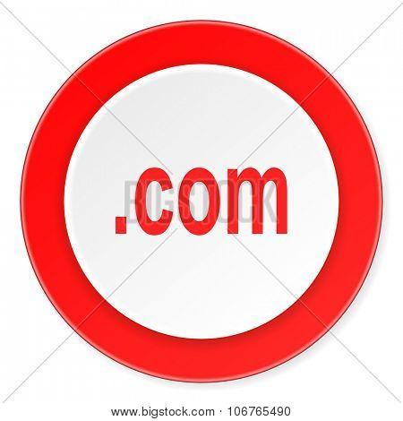 com red circle 3d modern design flat icon on white background