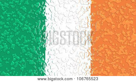 Flag of Ireland, Irish Flag with water drops.
