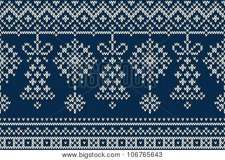 Christmas And New Year Knitting Pattern. Winter Holiday Seamless Sweater Design
