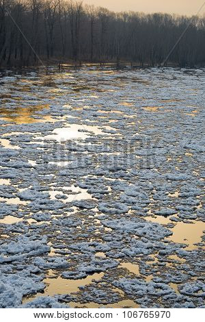 Ice drifting on the river